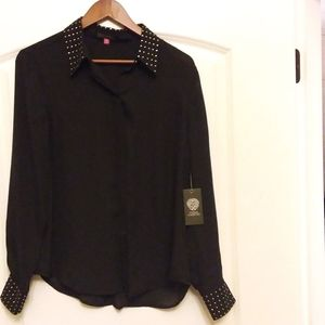 Black sheer blouse with gold beads